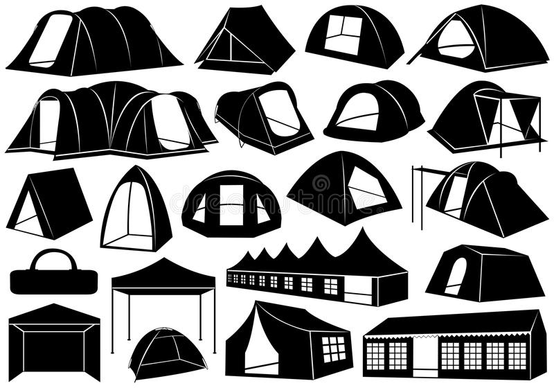 Download Set Of Tents stock vector. Image of object, holiday, isolated - 27321015