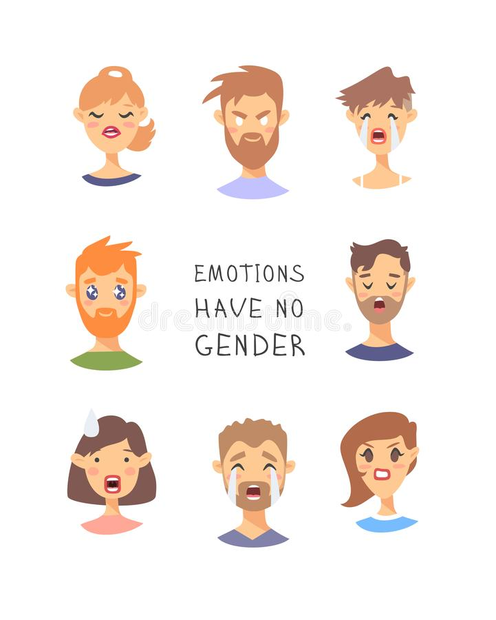 Set of text and girl and boy. Cartoon style emotional characters. Vector illustration men and women and quote EMOTIONS HAVE NO royalty free illustration