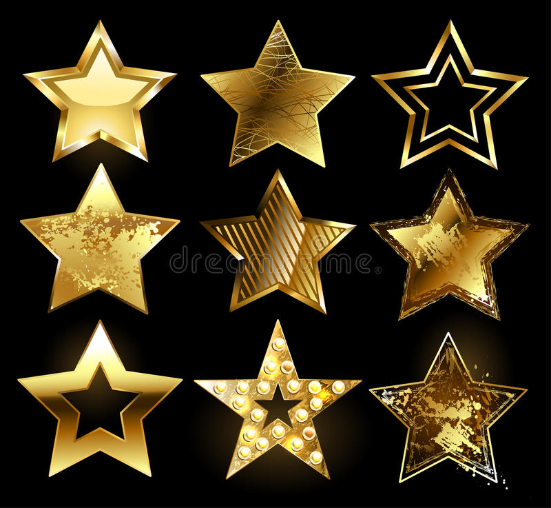 Set of textured gold stars. Set of gold stars with a variety of textures on a black background. Design with stars stock illustration