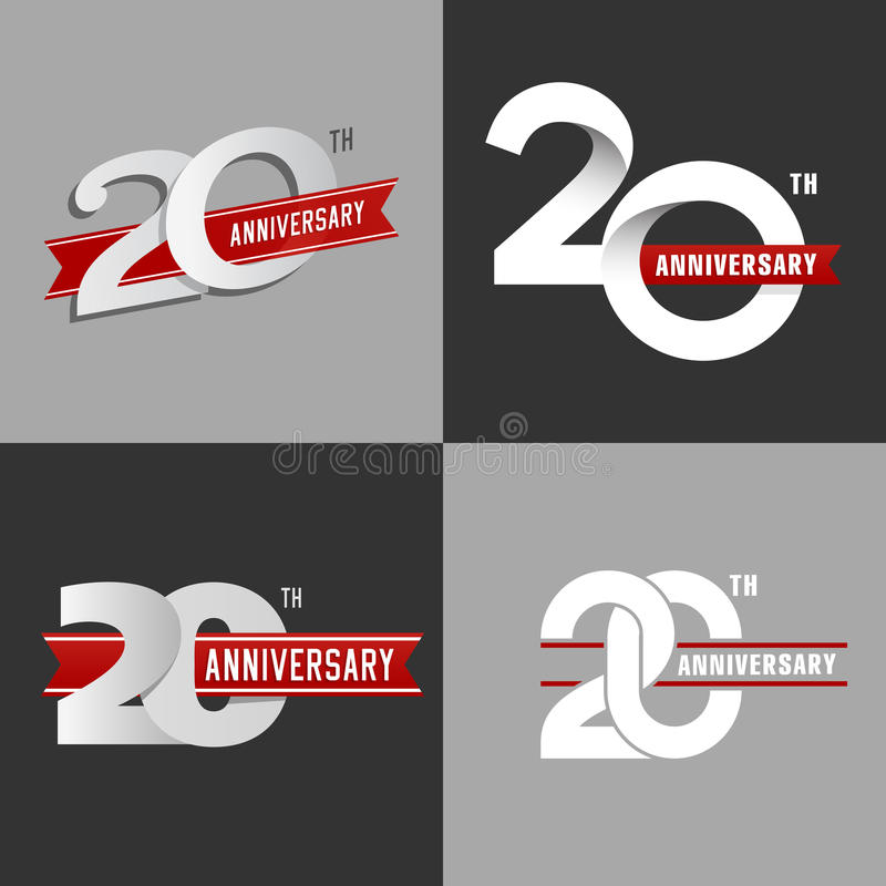 The set of 20th anniversary signs. stock illustration