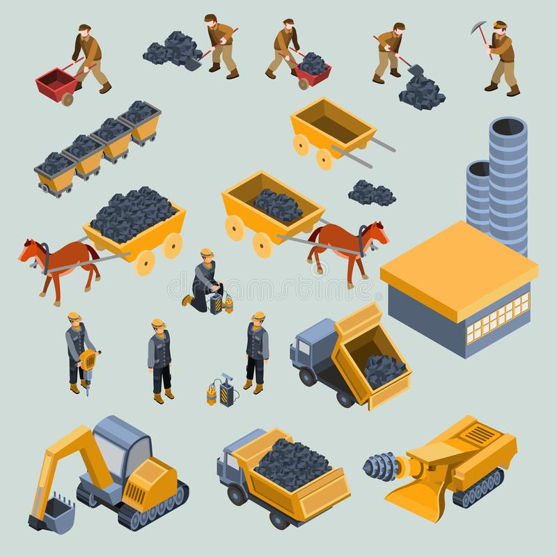 Mine, quarry workers and machines isometric vector stock illustration