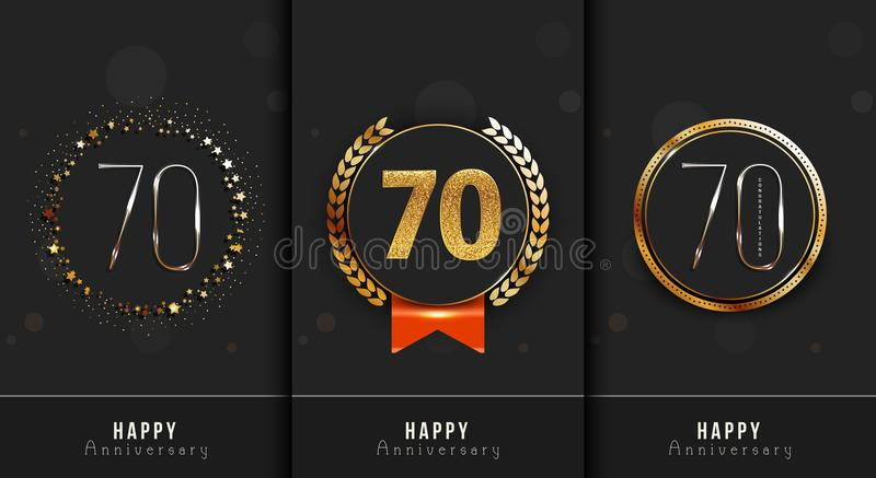 Set of 70th Happy anniversary cards template. royalty free illustration