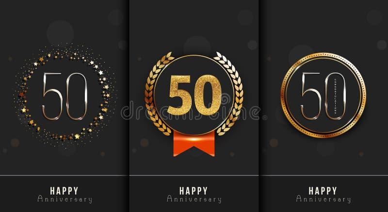 Set 50th Szczęśliwa rocznica grępluje szablon ilustracji