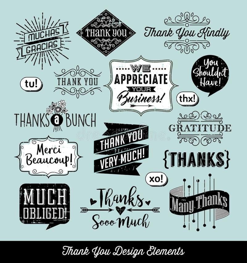 Set of thank you card design elements vector illustration