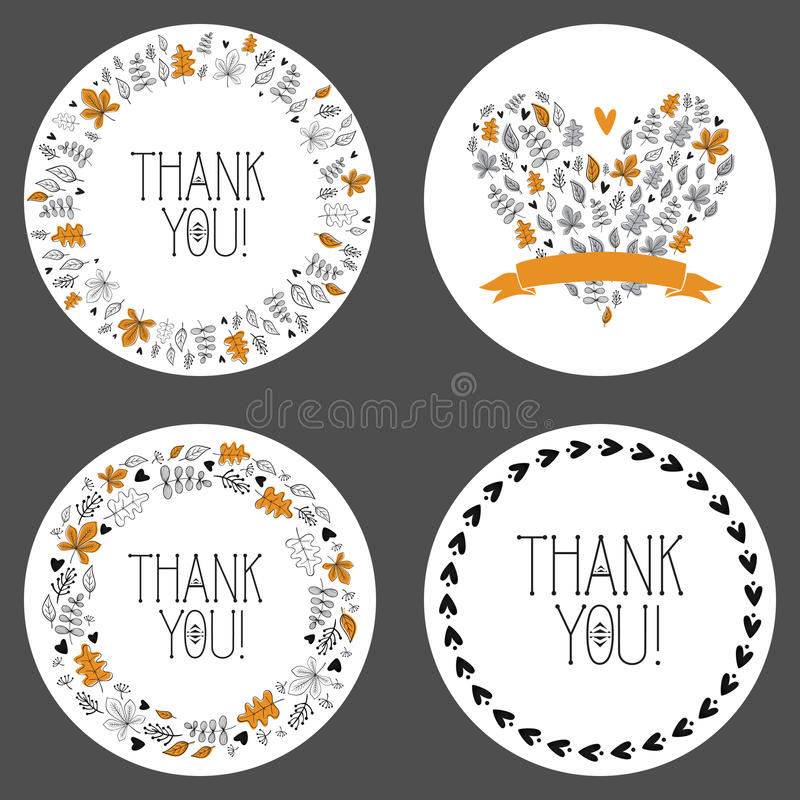 Set of thank you tags, decorative frames, gift tags, labels. Vector stock illustration