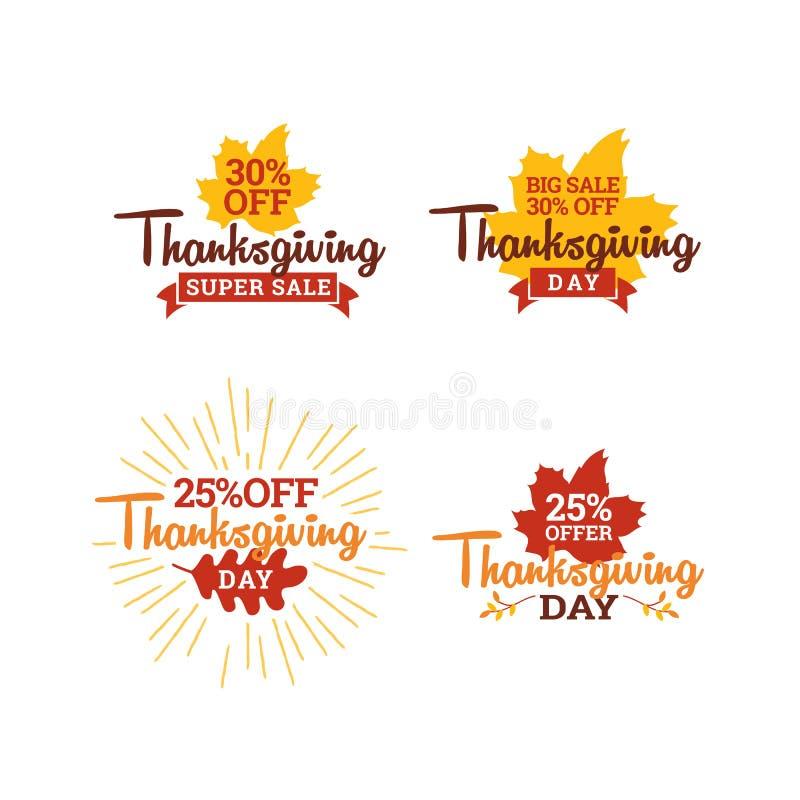 Set of thanksgiving day super sale. typography badge with dry leaf background. element for online shop web, banner, poster. Flyer design royalty free illustration