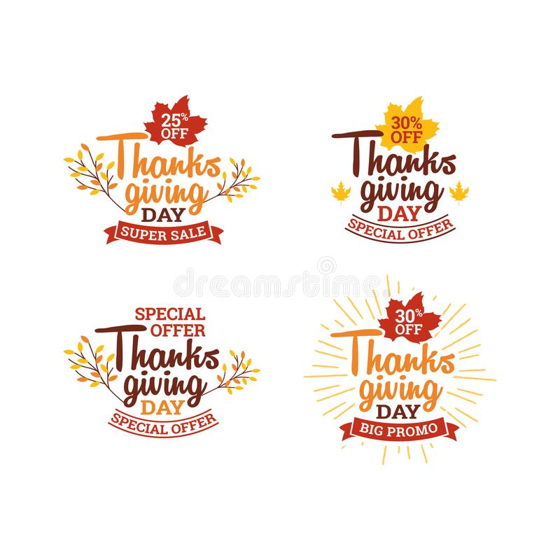 Set of thanksgiving day super sale. typography badge with dry leaf and ribbon ornament. element for online shop web, banner. Poster, flyer design royalty free illustration