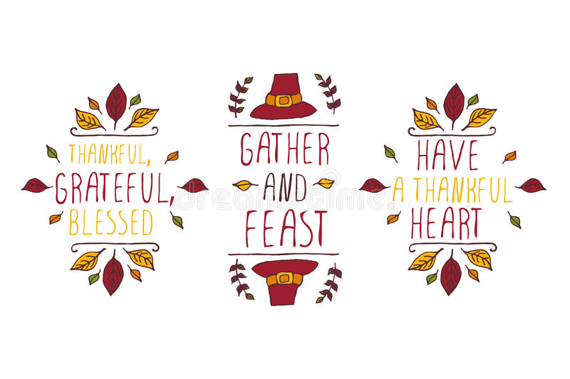 Set of Thanksgiving elements and text on white background stock illustration