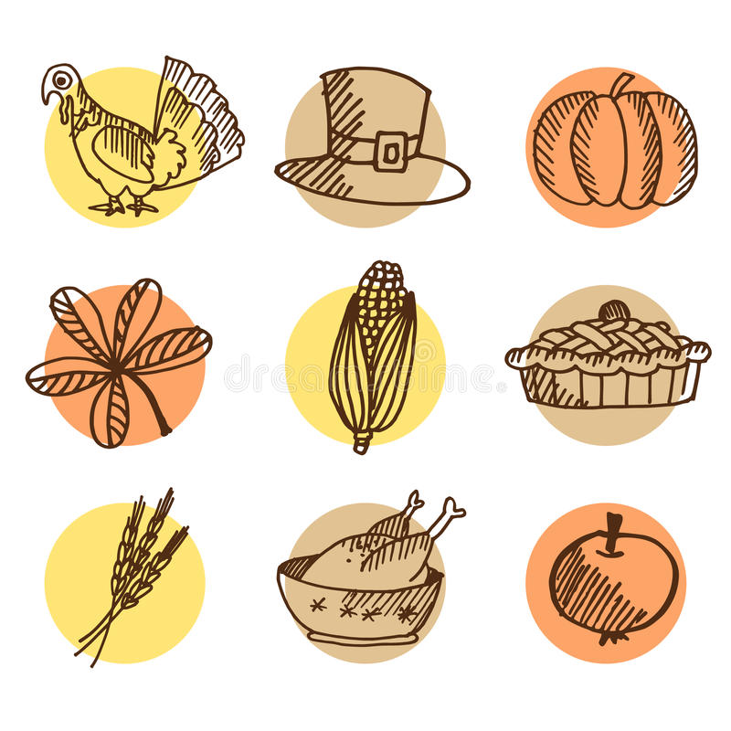Set of thanksgiving hand drawn icons, isolated s royalty free illustration