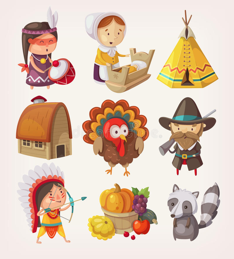 Set of thanksgiving items and characters royalty free illustration