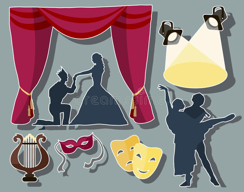Set of theatre acting performance icons. Drama, comedy, curtain and mask, tragedy. Vector illustration stock illustration