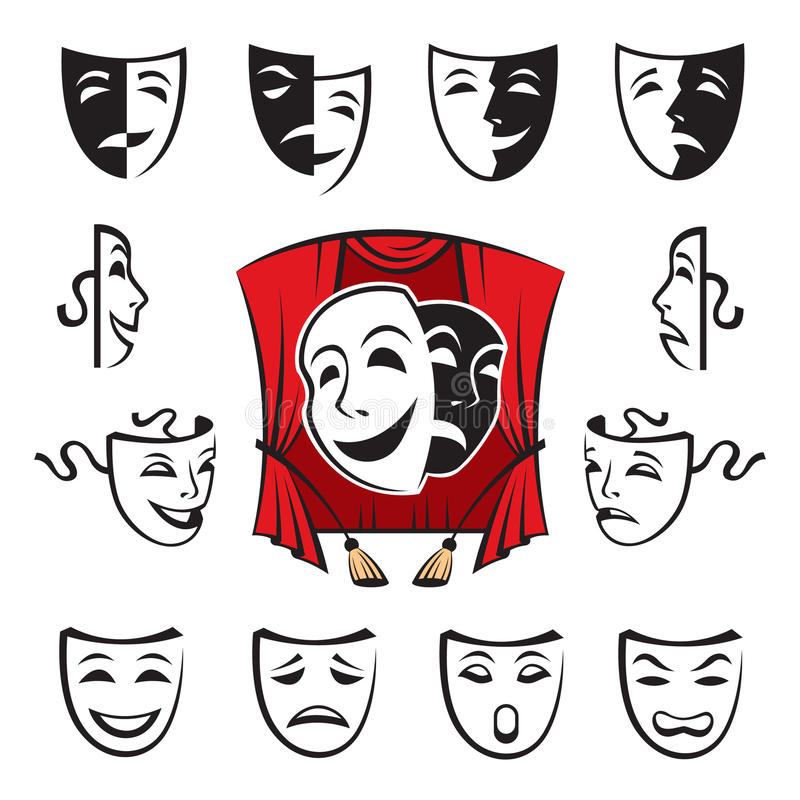 Download Set of theatrical masks stock vector. Image of mask, cartoon - 28013707