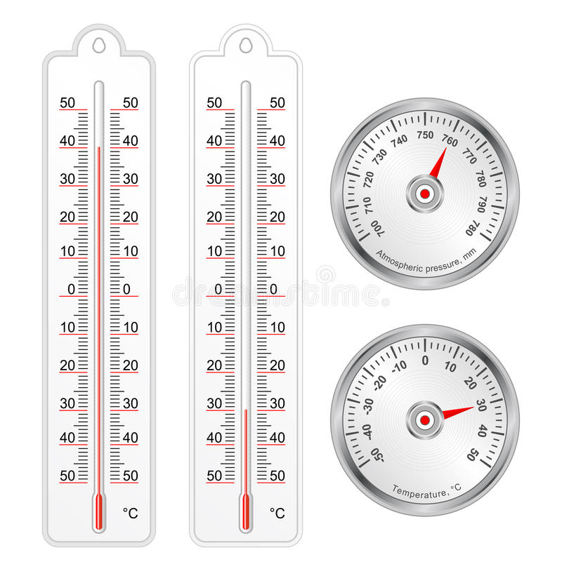 Set of thermometers and barometer in vector. Isolated over white royalty free illustration