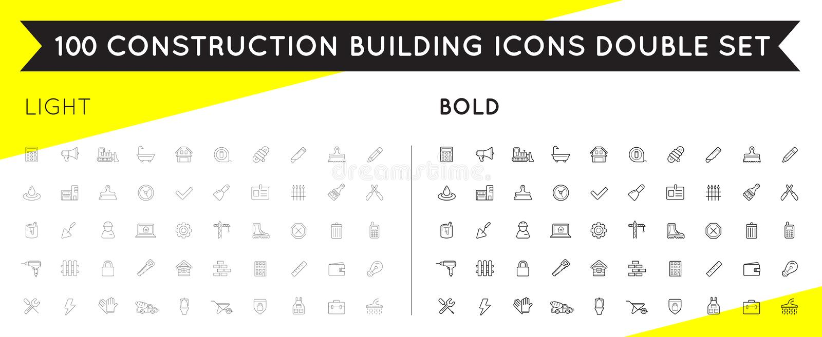 Set of Thin and Bold Vector Construction Building Icons. EPS 10 vector illustration