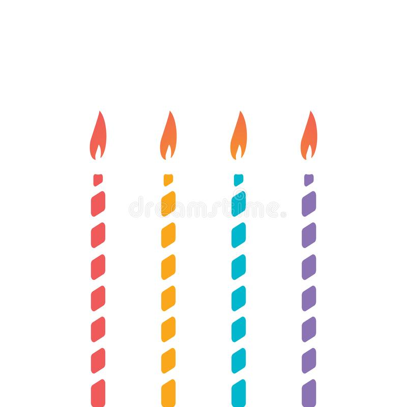 Set of thin decorative candle for cake. Decoration of children`s holiday, birthday, anniversary, christmas, new year. Isolated colorful candles with vector illustration
