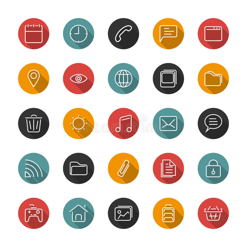 Set of thin icons. Style lines. Vector collection. Set of thin icons. Style lines. Vector collection for the user interface, web sites, mobile applications vector illustration