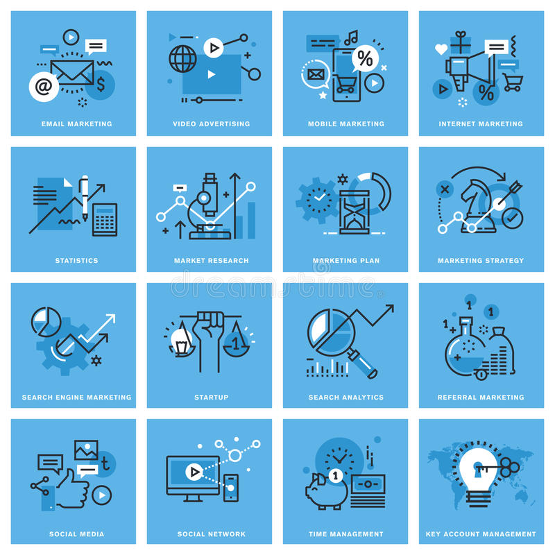 Set of thin line concept icons of marketing stock illustration