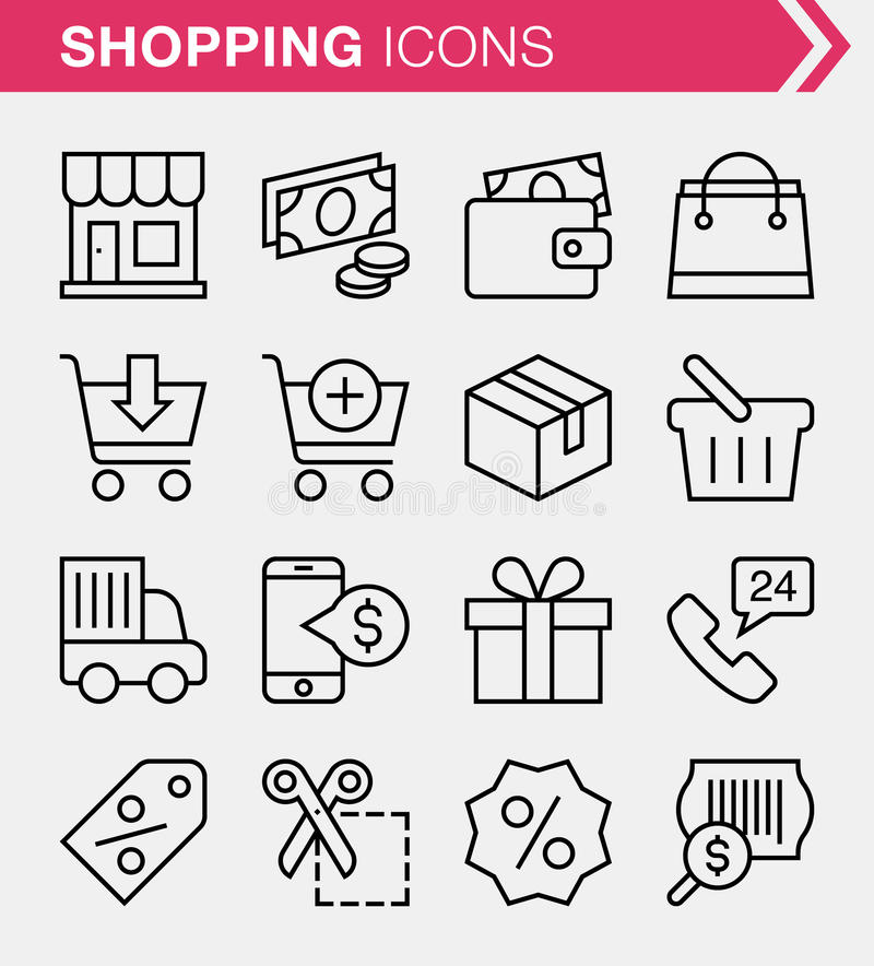 Set of thin line e-commerce and shopping icons. Pixel perfect icons for mobile apps and web design vector illustration