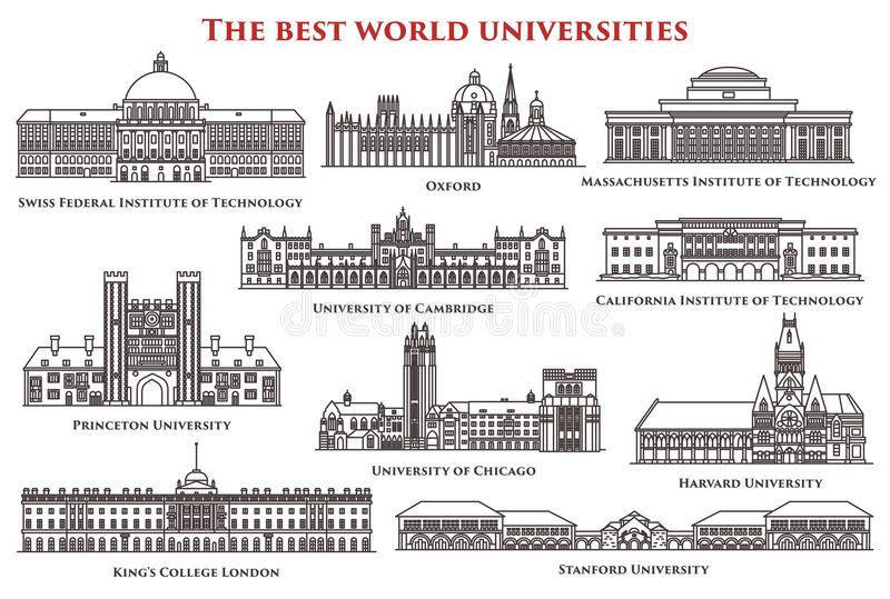 Set of isolated university and institute, college. Set of thin line education real buildings. Swiss federal and Massachusetts, California institute of technology royalty free illustration