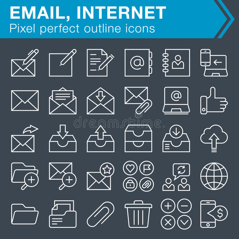 Set of thin line email and internet icons. vector illustration