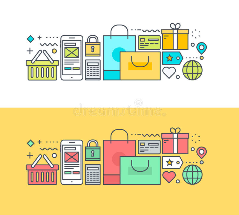 Set of thin line flat design concept on the theme of online shopping. Thin line flat design concept on the theme of online shopping and m-commerce. Concept for vector illustration