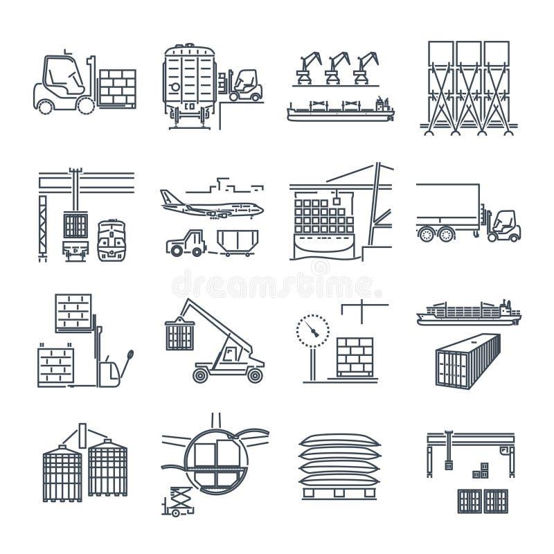 Set of thin line icons air, sea, rail freight terminal. Storage stock illustration