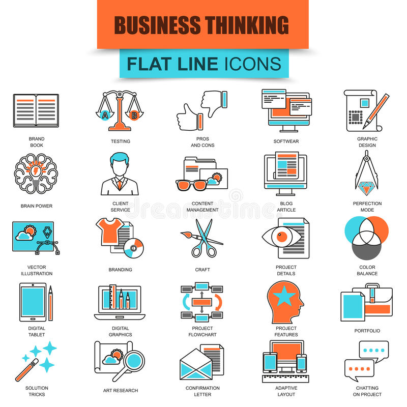 Set of thin line icons business content management. Usability thinking. Modern mono flat linear concept pictogram, set simple outline icon, symbol for web royalty free illustration