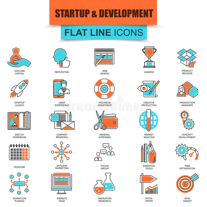 Set of thin line icons business startup stock illustration