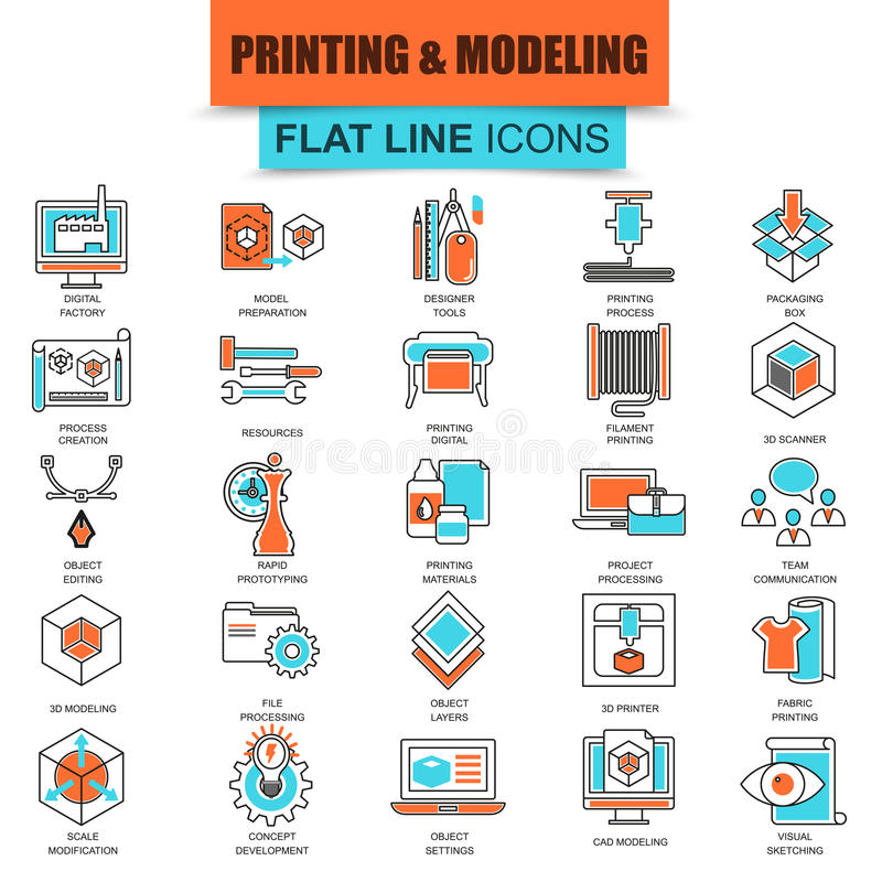 Set of thin line icons 3D printing and modeling technology vector illustration