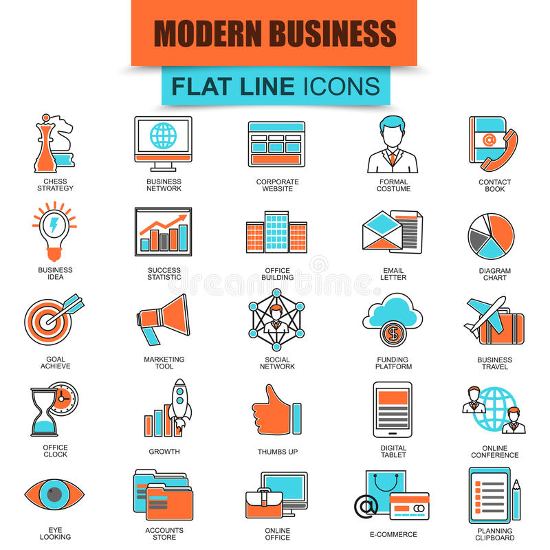 Set of thin line icons doing business using marketing technology ideas stock illustration