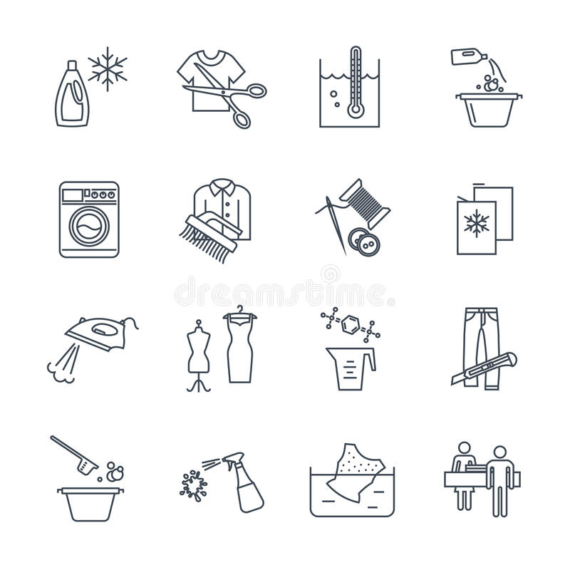 Set of thin line icons dry cleaning and laundry service. Production process royalty free illustration