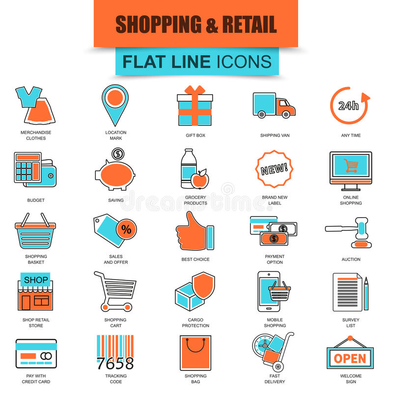 Set of thin line icons e-commerce, internet shopping. Retail store and online sales. Modern mono flat linear concept pictogram, set simple outline icon symbol royalty free illustration