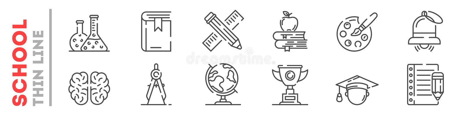 Set of thin line icons about education at school, college, university isolated on white. royalty free illustration