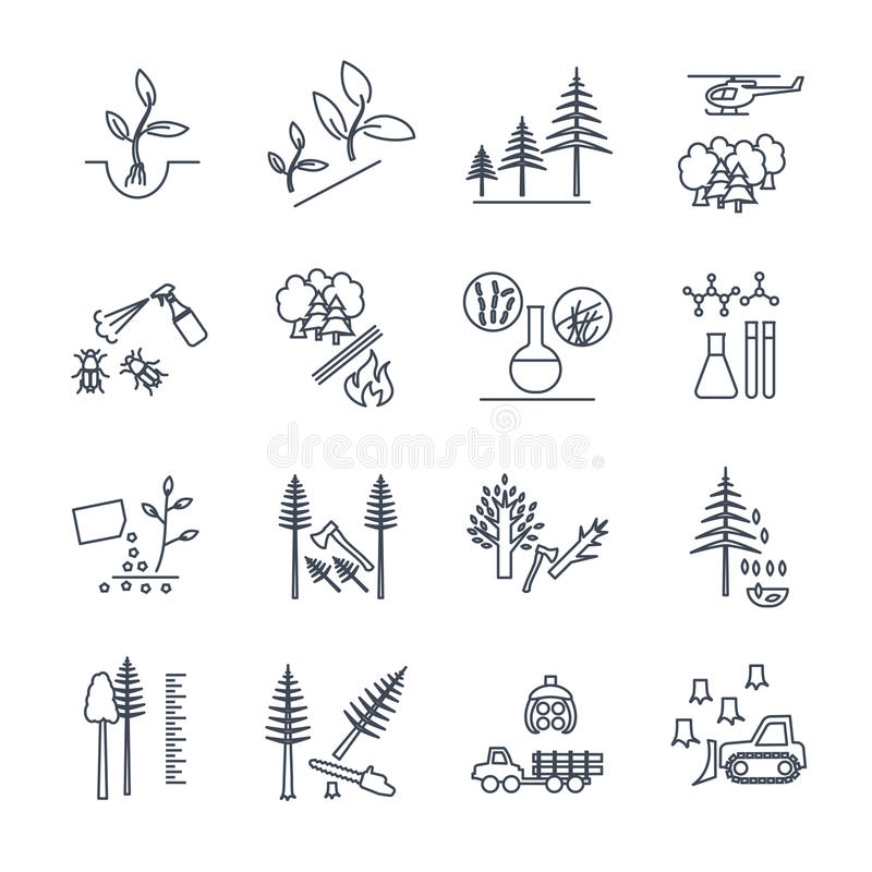 Set of thin line icons forestry and silviculture stock illustration