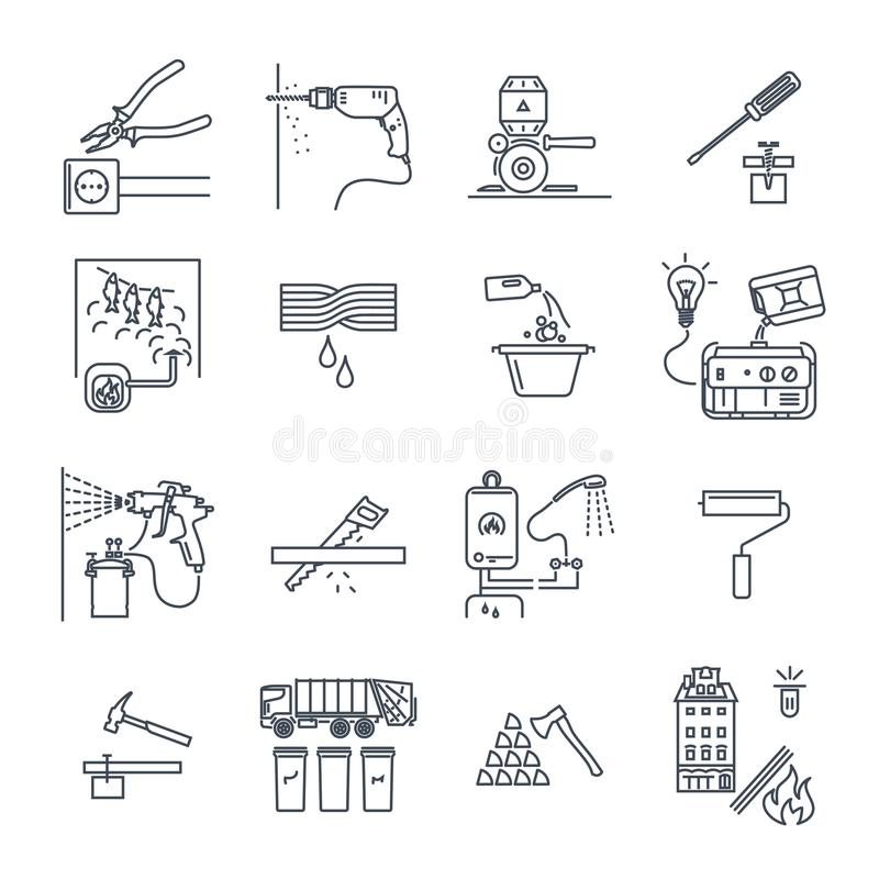 Set of thin line icons home appliances, electric, technology royalty free illustration
