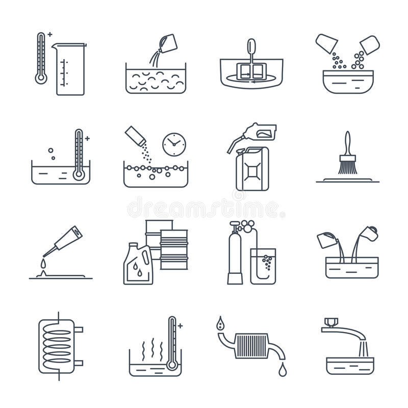 Set of thin line icons household chemicals, tool royalty free illustration