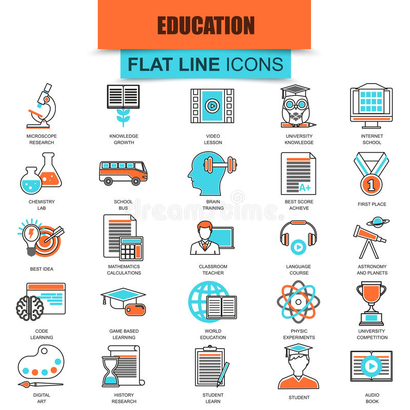 Set of thin line icons internet education and online course study stock illustration