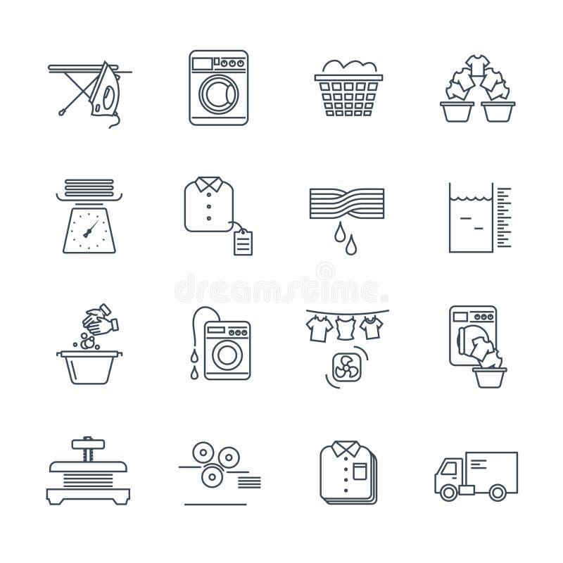 Set of thin line icons laundry service. Production process stock illustration