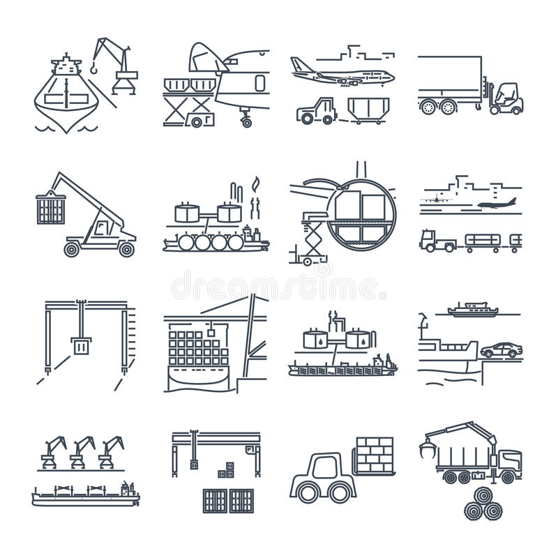 Set of thin line icons loading and unloading of goods vector illustration
