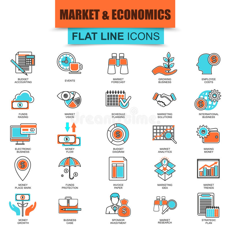 Set of thin line icons market and economics, financial services royalty free illustration