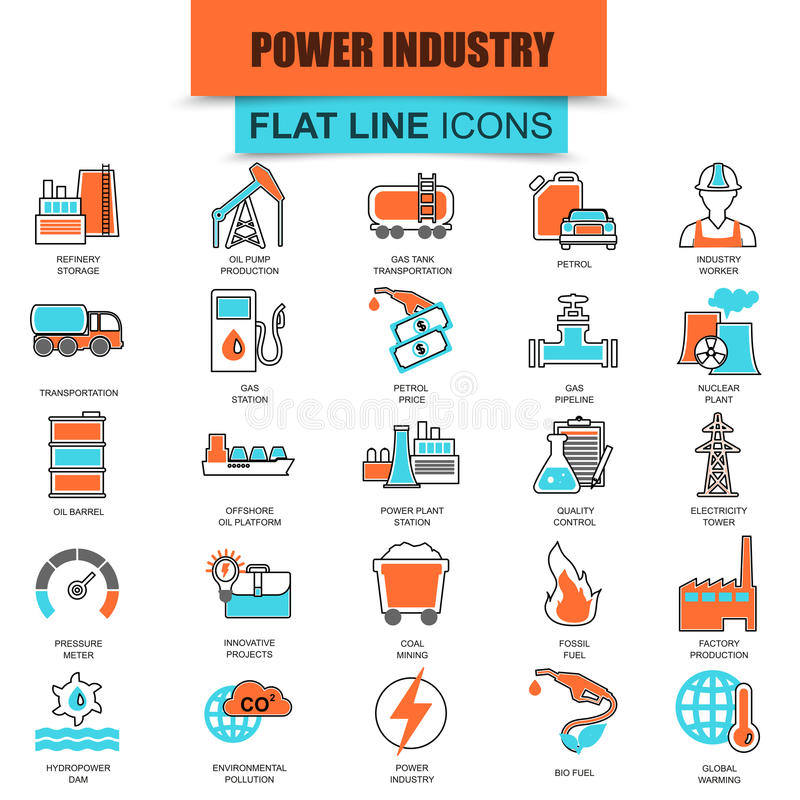 Set of thin line icons power plant, extraction of various resources stock illustration