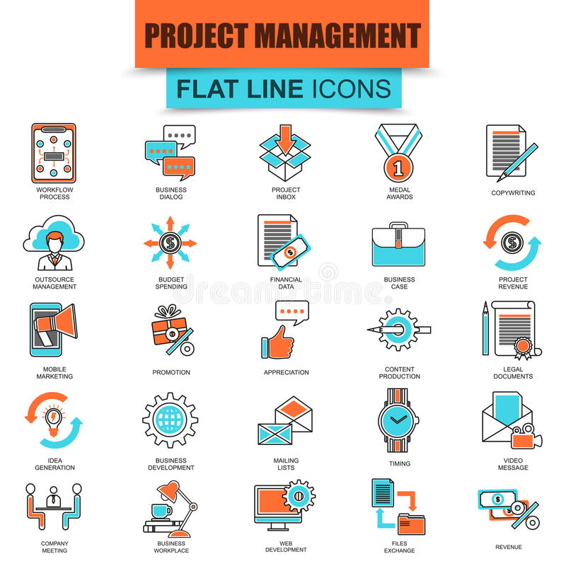 Set of thin line icons project management, business leadership. Modern mono flat linear concept pictogram, set simple outline icon, symbol for graphic and web vector illustration