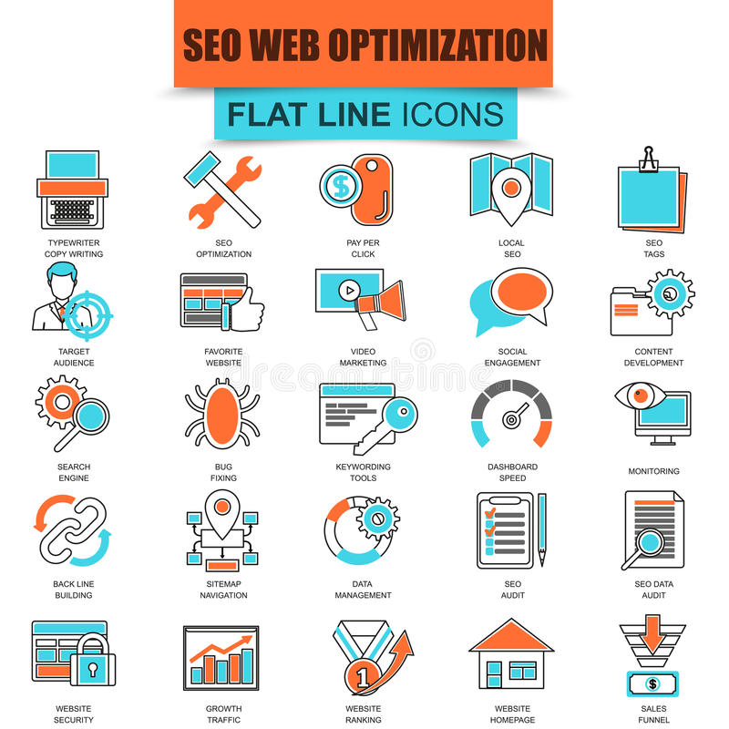 Set of thin line icons search engine optimization tools. For growth traffic. Seo optimization and development website. Mono flat linear concept pictogram, set royalty free illustration