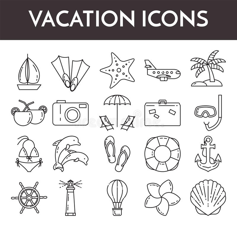 Set of thin line icons with vacation symbols. Traveling pictograms for websites, banners, infographic illustrations. Set of thin line icons with vacation royalty free illustration