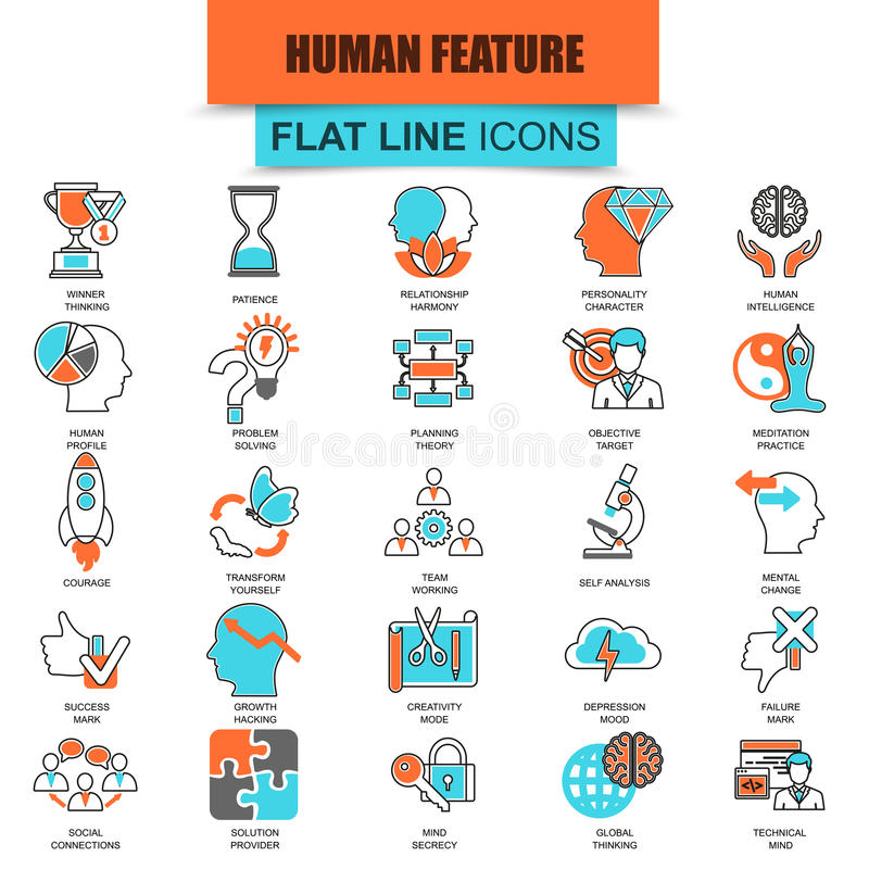 Set of thin line icons various mental features of human brain vector illustration