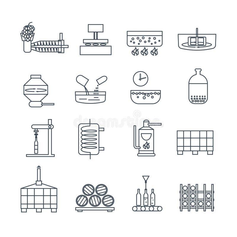 Set of thin line icons wine production stock illustration