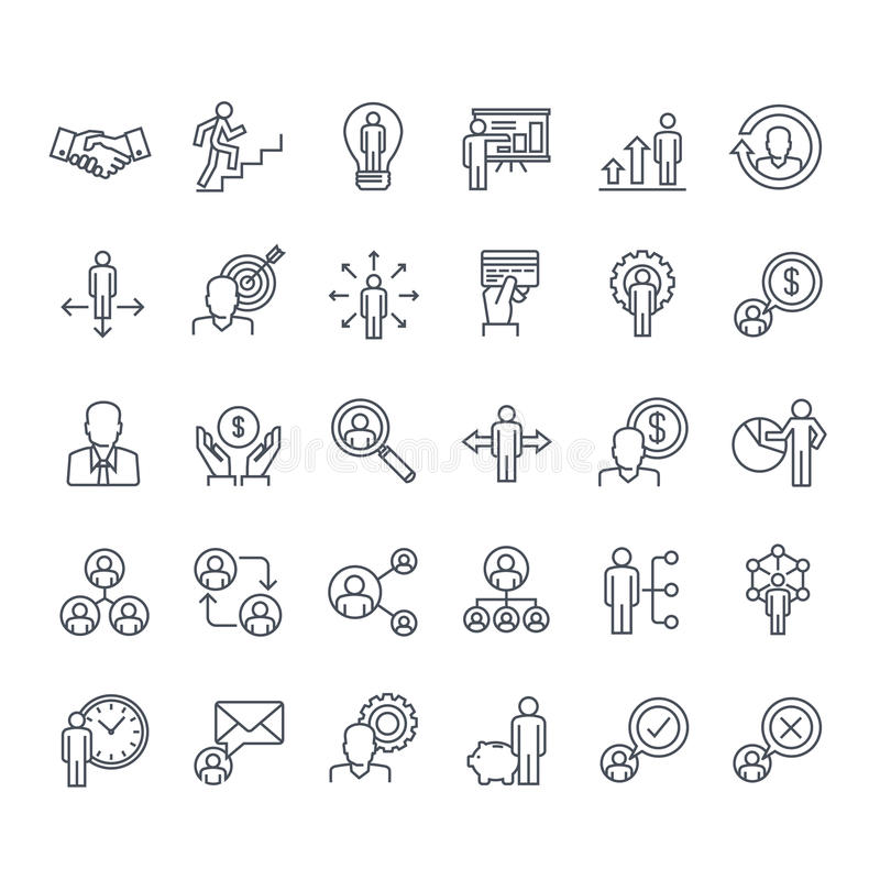 Set of thin line people icons royalty free illustration