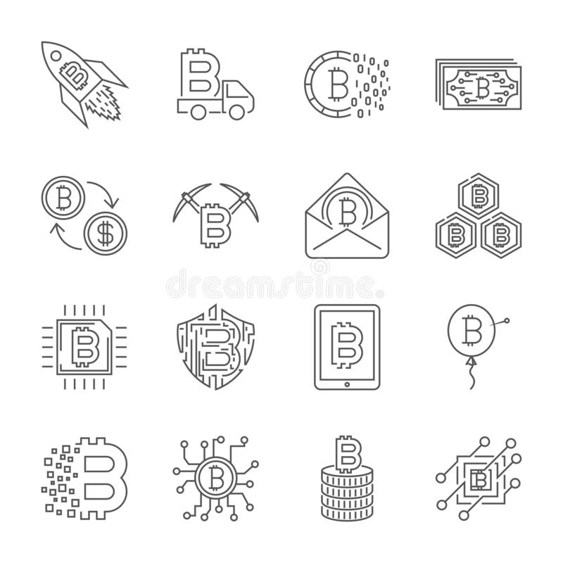 Set of Thin Line Stroke Vector Bitcoin and Cryptocurrency Icons. royalty free illustration