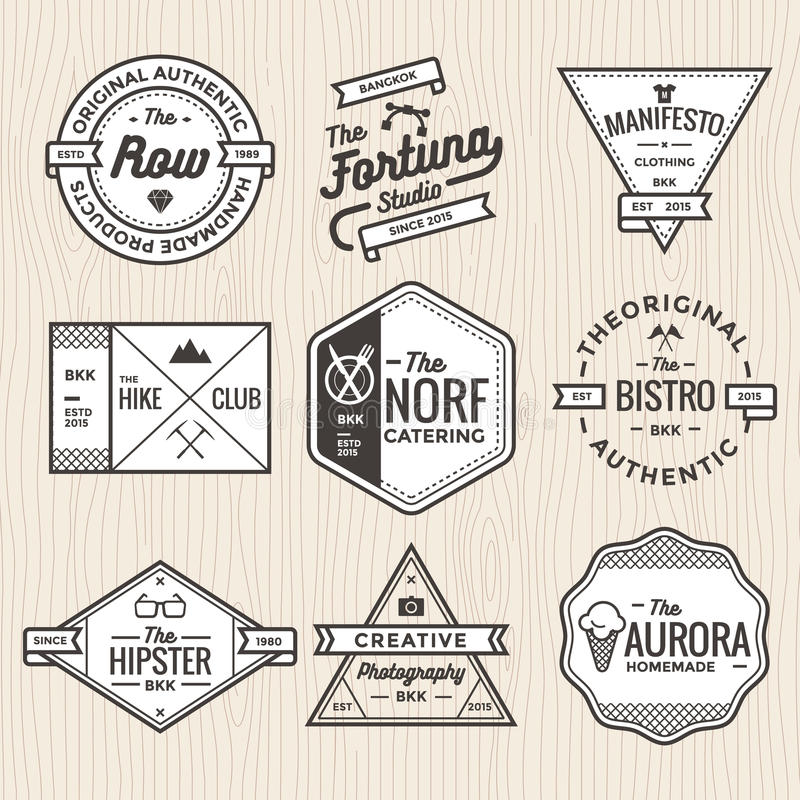 Set of thin line vintage badges, banners, label, ribbon and logo template vector for business and shop stock illustration