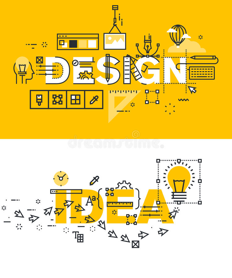 Set of thin line word banners of design and idea stock illustration